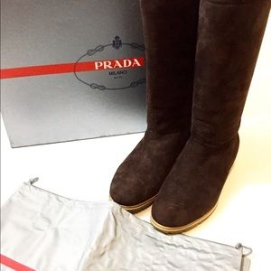 PRADA SHEARLING LINED BOOTS New in Box